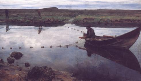 """Laksefiskeren""  (1889) ny Eilif Peterssen"
