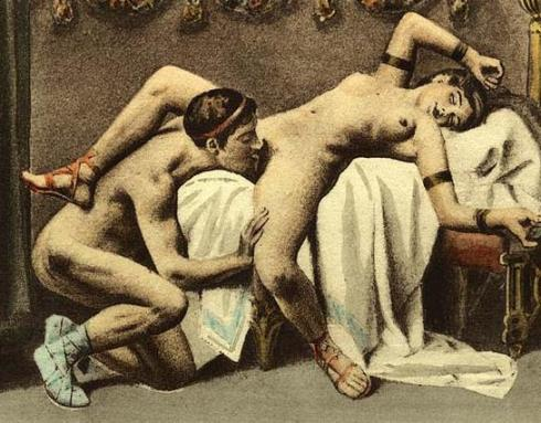 Édouard-Henri Avril's depiction of cunnilingus in the spread-eagle position.  Courtesy of:http://en.wikipedia.org/wiki/Cunnilingus